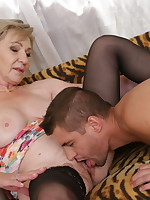 Horny housewife playing with her younger lover - Granny Girdles